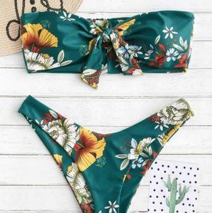 Zaful - Bandeau Floral Bikini